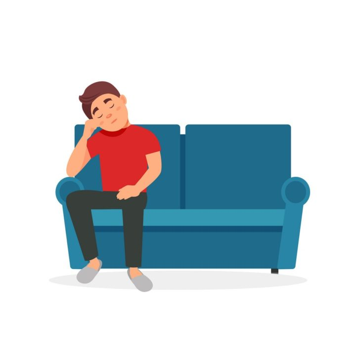 Tired man sitting on the sofa vector Illustration on a white background