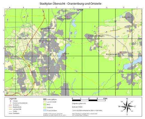 Stadtplan Übersicht - Oranienburg und Ortsteile
