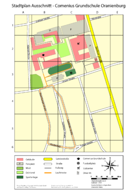 Stadtplan Ausschnitt - Comenius Grundschule Oranienburg