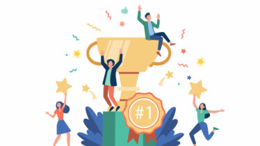 Team of happy employees winning award