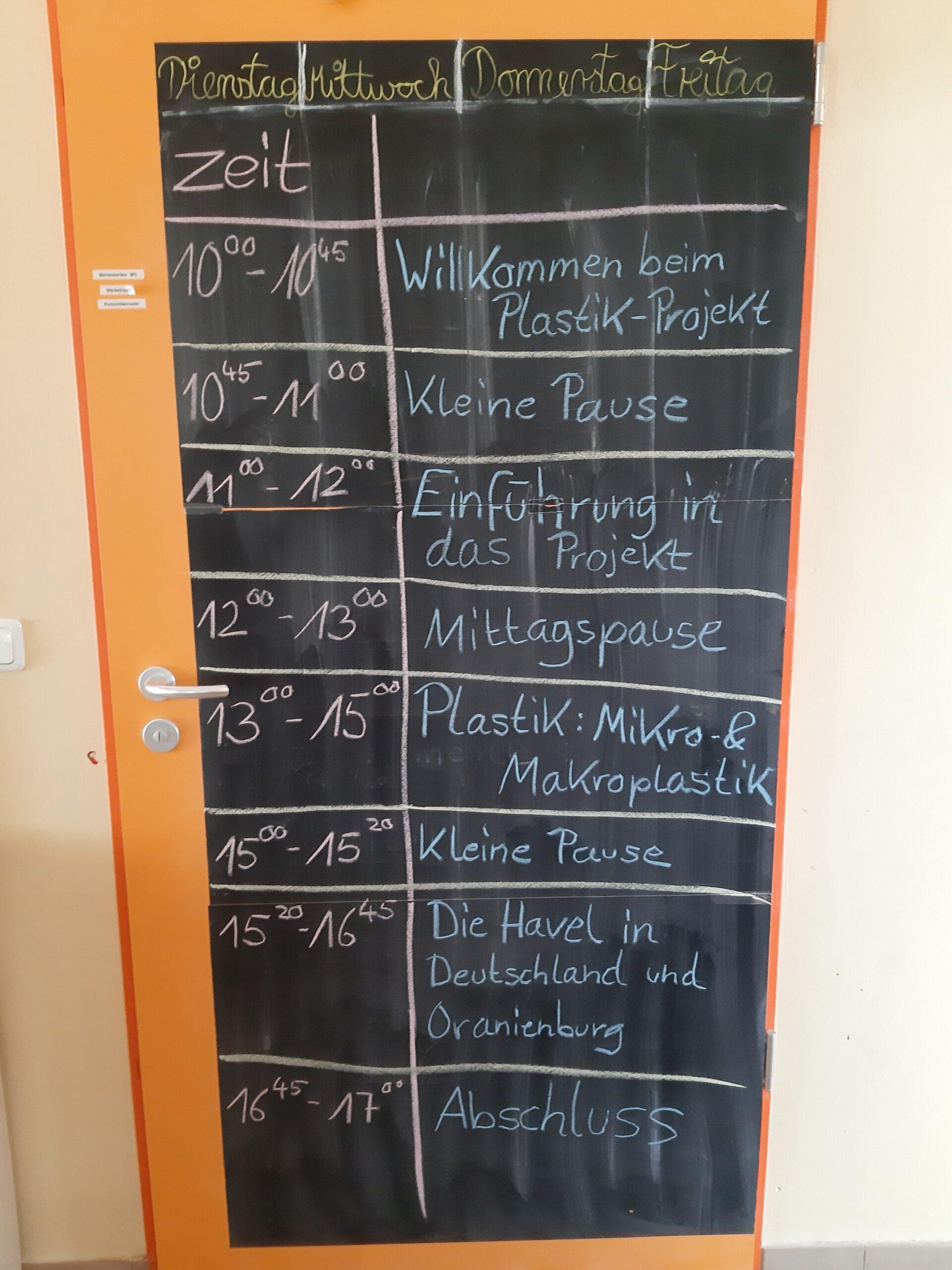 Tagesplan - Tag 1